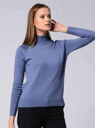 Indigo - Unlined - Polo neck - Knit Sweaters