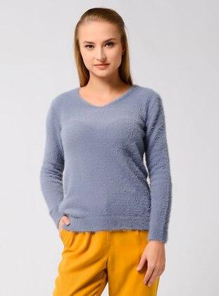 Indigo - Unlined - V neck Collar - Knit Sweaters