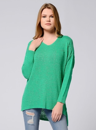 Green - V neck Collar - Unlined - Knit Tunics