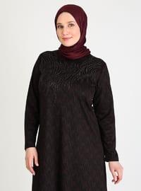 Plum - Black - Unlined - Crew neck - Plus Size Dress