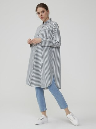 Khaki - Stripe - Point Collar - Tunic