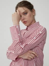 Red - Stripe - Point Collar - Tunic