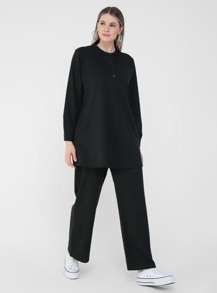 Black - Plus Size Tracksuit - Alia