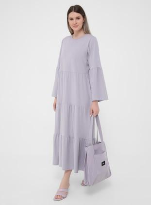 Lilac - Unlined - Crew neck - Plus Size Dress