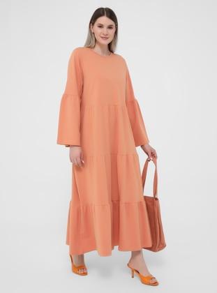 Salmon - Orange - Unlined - Crew neck - Plus Size Dress
