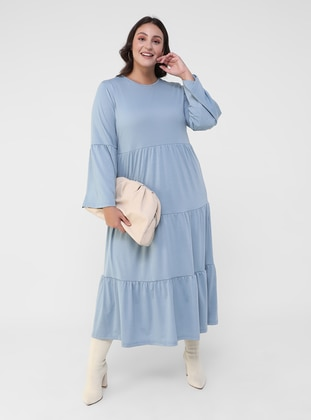 Ice Blue - Blue - Unlined - Crew neck - Plus Size Dress