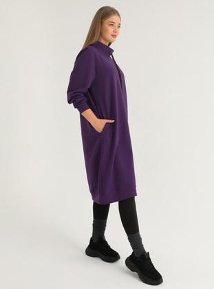 Plum - Polo neck - Plus Size Tunic