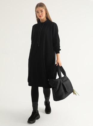 Black - Polo neck - Plus Size Tunic