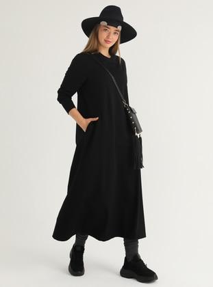 Black - Unlined - Crew neck - Plus Size Dress