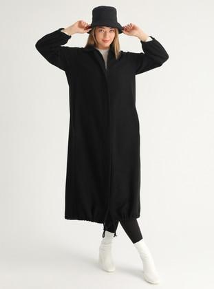 Black - Black - Unlined - Black - Unlined - Plus Size Overcoat - FLOWİST PLUS SİZE