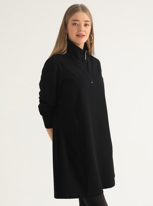 Black - Polo neck - Plus Size Tunic