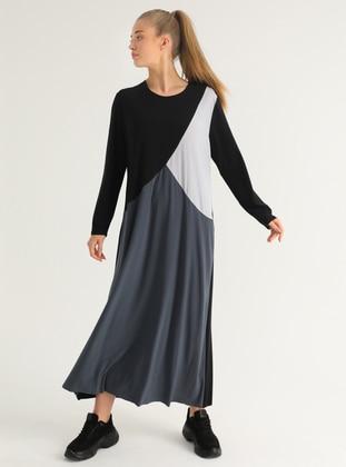 Anthracite - Gray - Black - Unlined - Crew neck - Plus Size Dress