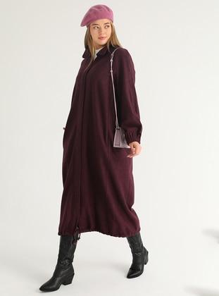 Purple - Purple - Unlined - Purple - Unlined - Plus Size Overcoat