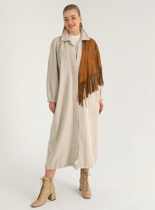 Stone - Stone - Unlined - Stone - Unlined - Plus Size Overcoat