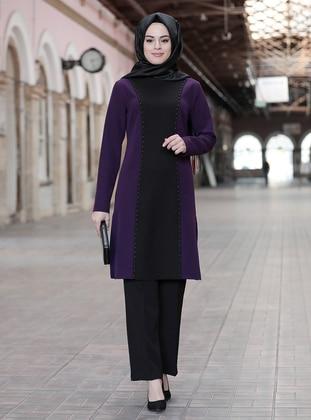 Unlined - Purple - Crew neck - Evening Suit