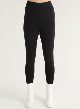 Black - Plus Size Leggings - FLOWİST PLUS SİZE