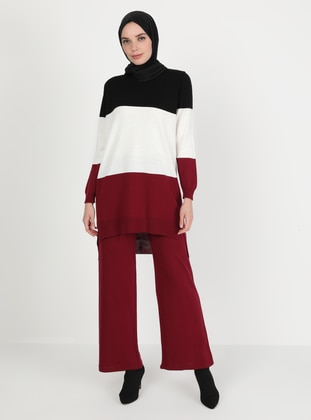 Maroon - Black - Unlined - Knit Suits