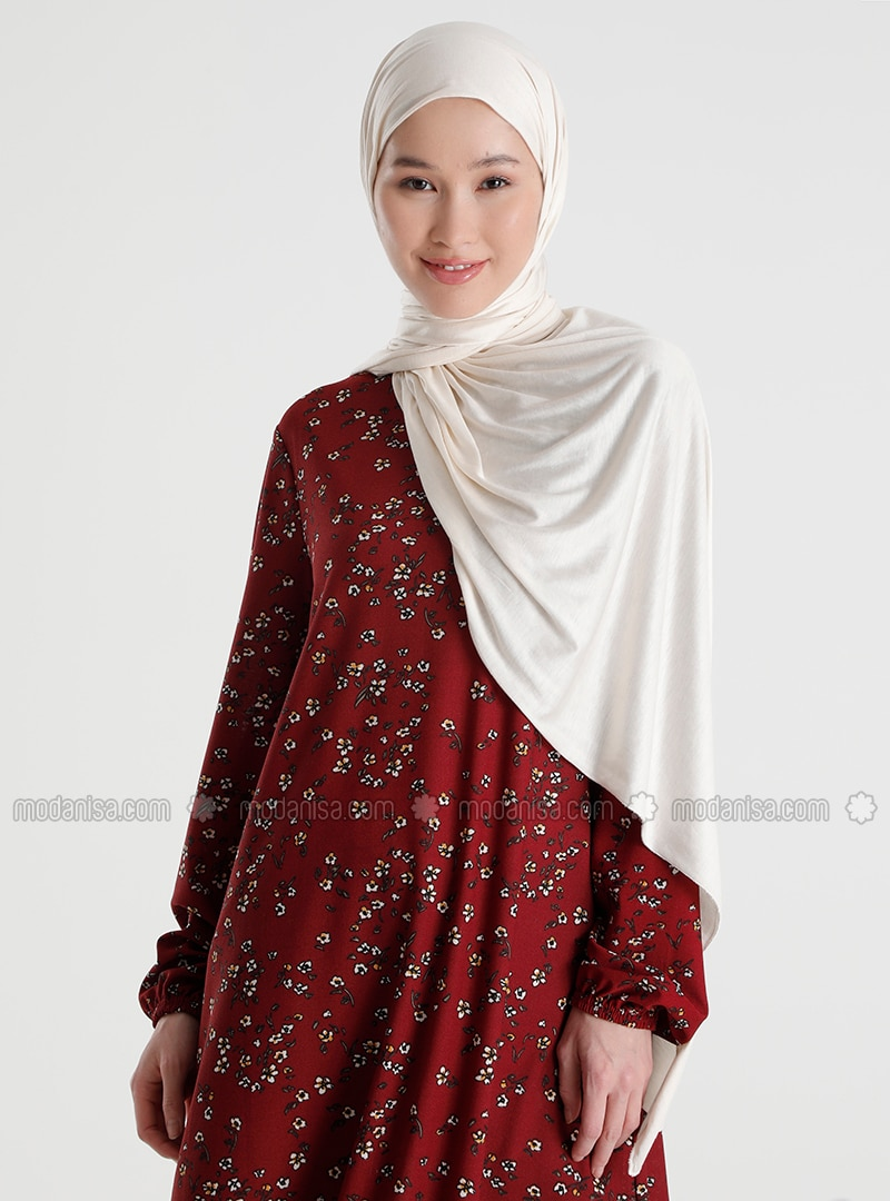 Maroon - Floral - Crew neck - Tunic