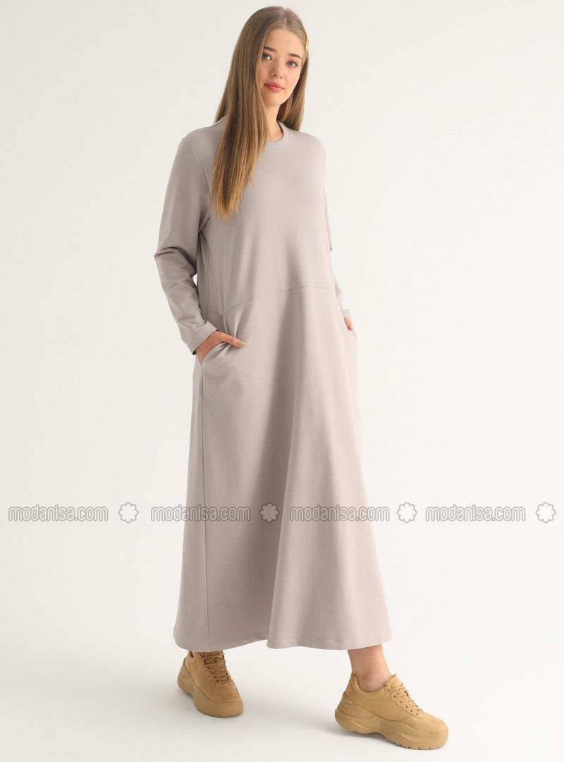 Mink - Unlined - Crew neck - Plus Size Dress