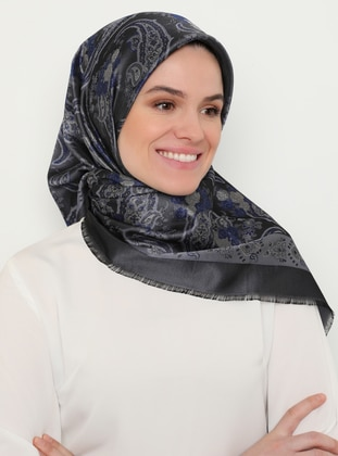 Gray - Saxe - Shawl Patterned - Scarf