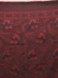 Maroon - Black - Shawl Patterned - Scarf