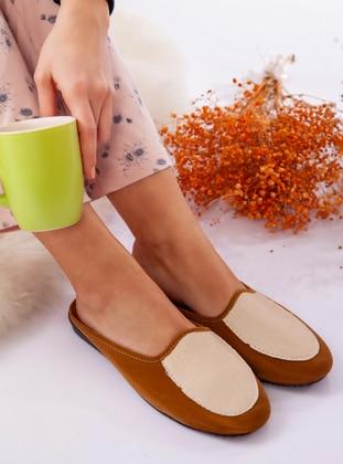 Sandal - Tan - Home Shoes - Ayakkabı Havuzu