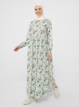 Green Almond - Floral - Crew neck - Unlined - Modest Dress