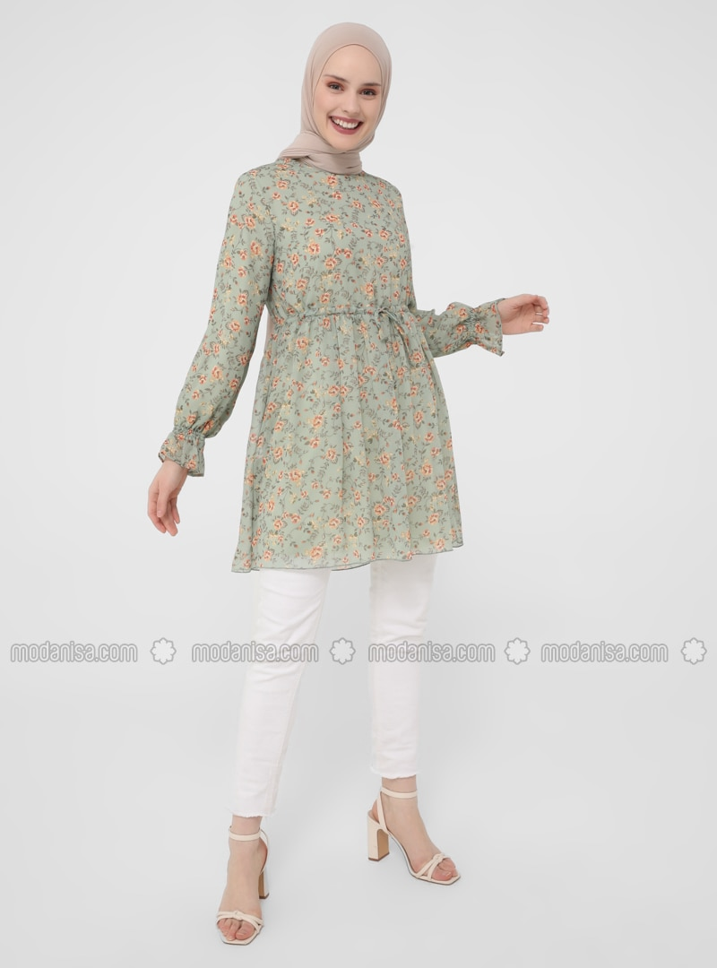 Green - Floral - Crew neck - Tunic
