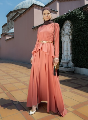 Flare Detailed Evening Dress - Coral - Refka Woman