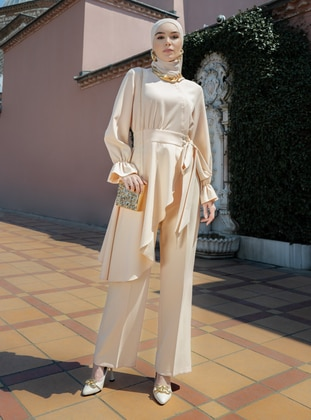 Flare Detailed Blazer & Trouser Set - Samon - Refka Woman