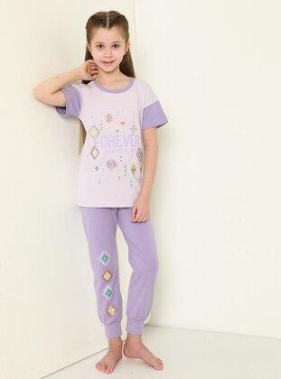 Multi - Crew neck - Lilac - Girls` Pyjamas
