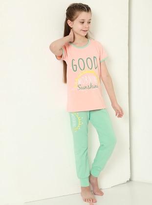 Multi - Crew neck - Mint - Powder - Girls` Pyjamas