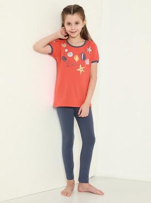 Multi - Crew neck - Smoke - Coral - Girls` Pyjamas