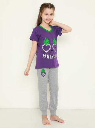 Multi - Crew neck - Gray - Purple - Girls` Pyjamas