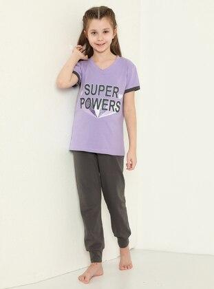 Multi - Crew neck - Smoke - Lilac - Girls` Pyjamas