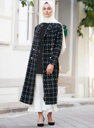 Black - Checkered - Unlined - V neck Collar - Coat