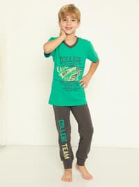 Multi - Crew neck - Smoke - Green - Boys` Pyjamas