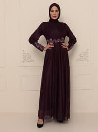 Plum - Silvery - Fully Lined - Crew neck - Modest Evening Dress