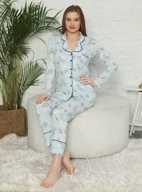 Blue - V neck Collar - Multi - Pyjama Set