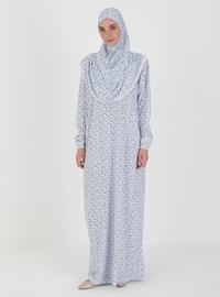 Blue - Floral - Unlined - Prayer Clothes
