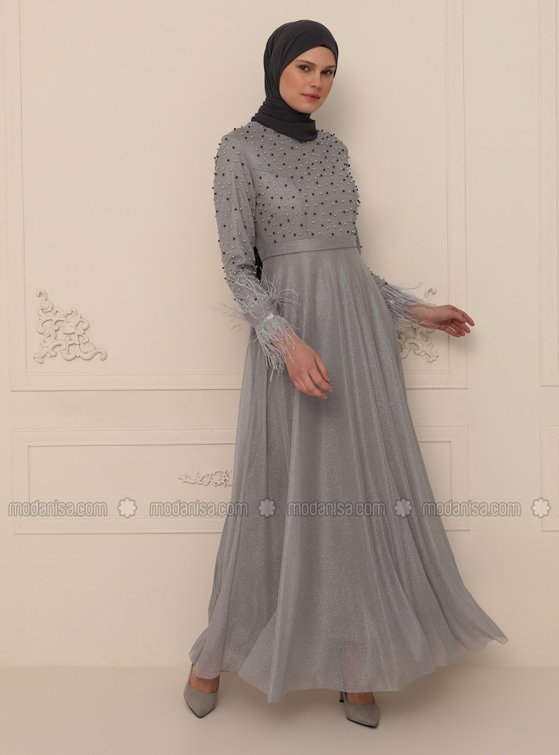 Gray - Silvery - Fully Lined - Crew neck - Modest Evening Dress