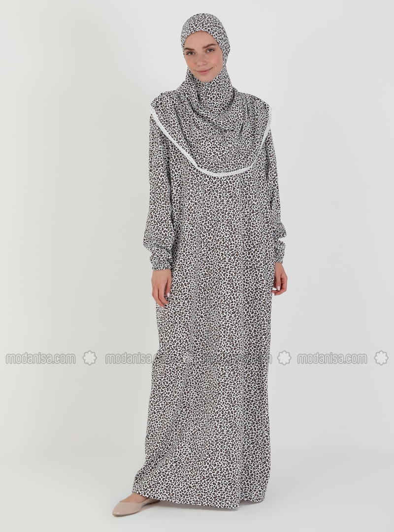 Brown - Floral - Unlined - Prayer Clothes - Hal-i Niyaz