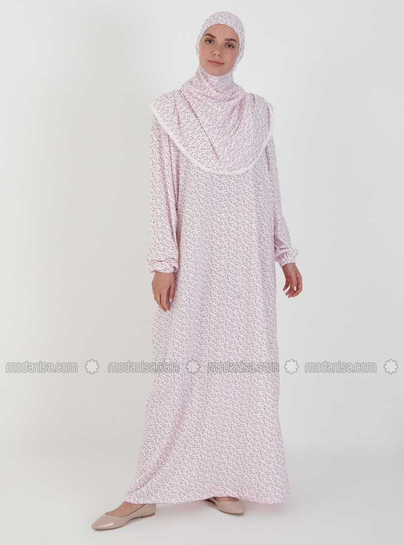 Red - Floral - Unlined - Prayer Clothes - Hal-i Niyaz