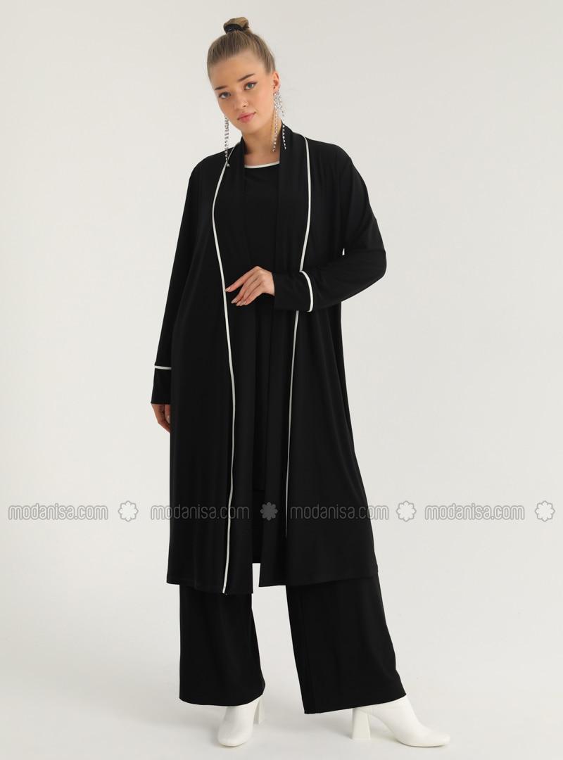 Tunic & Coat Set - Black