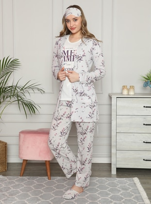 White - Crew neck - Pyjama Set - Fawn