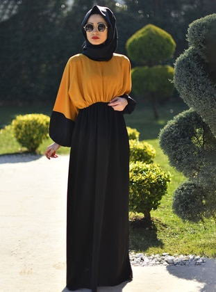 Yellow - Black - Crew neck - Unlined - Yellow - Black - Crew neck - Unlined - Modest Dress