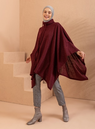 Maroon - Polo neck - Unlined - Poncho