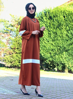 White - Brown - Unlined - Crew neck - Abaya - DUHA BY MELEK AYDIN