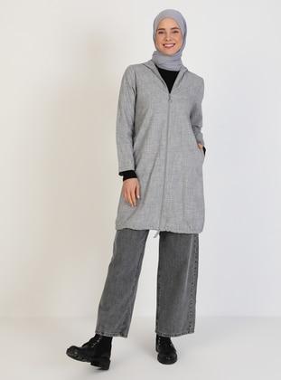 Gray - Unlined - Crew neck - Topcoat