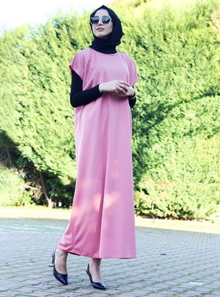 Powder - Unlined - Crew neck - Abaya - DUHA BY MELEK AYDIN